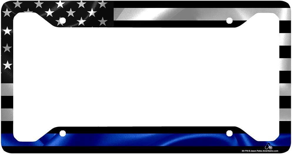 THIN BLUE LINE POLICE LIVES MATTER AMERICAN FLAG METAL NOVELTY LICENSE PLATE