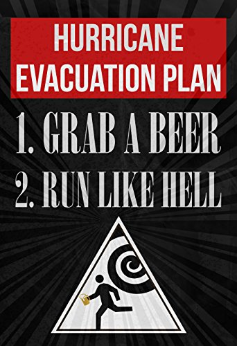 Hurricane Evacuation Plan 1 Grab A Beer 2 Run Like Hell Print Running Man With Beer From Hurricane Warning Sign Picture Drinking Fun Funny Humor Bar Wall Decoration Poster - Hurricane Evacuation Sign