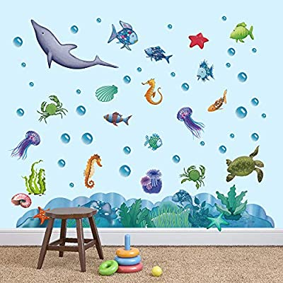 Hole In The Wall 3D Wall Decal Cartoon Sea Turtle Animals Kids Nursery Decor