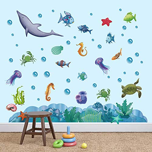 decalmile Under The Sea Wall Decals Rainbow Fish Ocean Wall Stickers Kids Baby Nursery Bedroom Bathroom Wall Decor