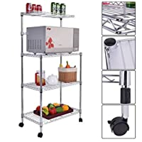 MD Group Baker Rack 4 Tiers Metal Microwave Oven Stand Adjustable Height with Casters