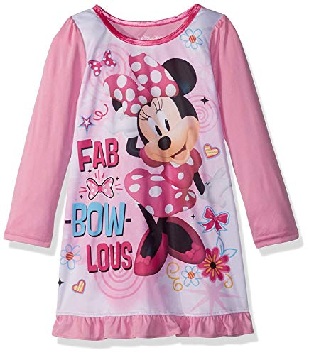 (Disney Girls' Toddler Minnie Mouse Nightgown, fab/Bow/Lotus Pink)