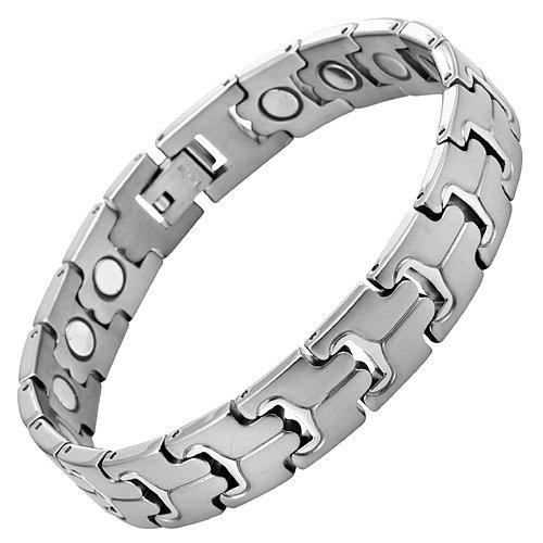 Willis Judd bracelet magnétique en titane pour homme écrin en velours noir + sans outil pour enlever des maillons