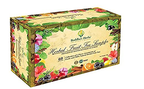Buddha's Herbs Premium Herbal Fruit Tea Sampler - 60 Count Assorted Package, Tea Gifts, New Year Gifts (Gift New Year)