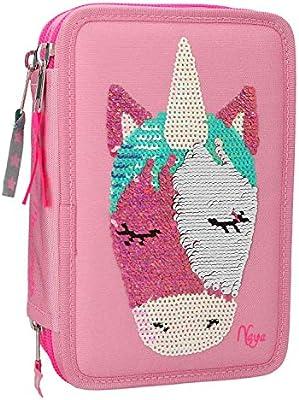 Depesche 10377 – Estuche con 3 compartimentos Ylvi y los Minimoomis, con lentejuelas, Naya, color rosa: Amazon.es: Juguetes y juegos