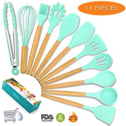 Cook Essentials 11pc Silicone Cooking Kitchen Utensils Set Bamboo Wooden Handles Cooking Tool Bpa Free Non Toxic Silicone Turner Tongs Spatula Spoon Kitchen Gadgets Nonstick Cookware Utensils Green