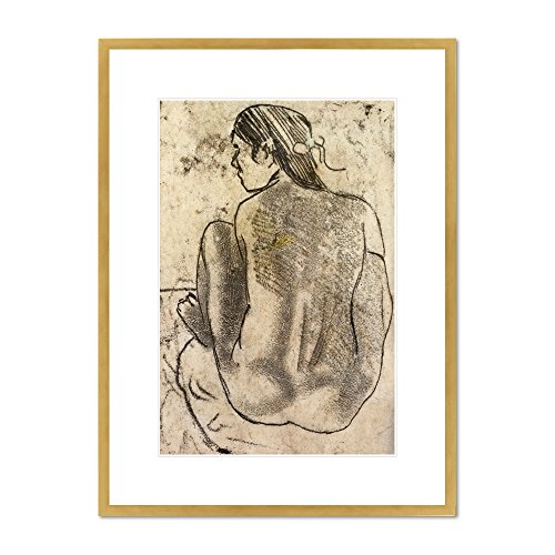 Seated Tahitian Nude from the Back by Paul Gauguin, circa 1902. Framed Art Print
