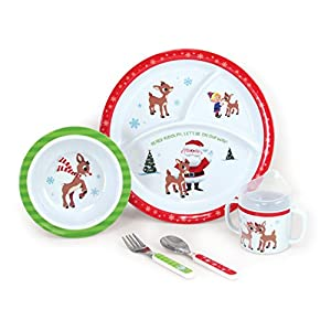 5-Piece Rudolph Melamine Dish Set – Includes Plate, Bowl, Cup, Fork, and Spoon