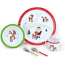 Kids Preferred 5-Piece Rudolph Melamine Dish Set – Includes Plate, Bowl, Cup, Fork, and Spoon