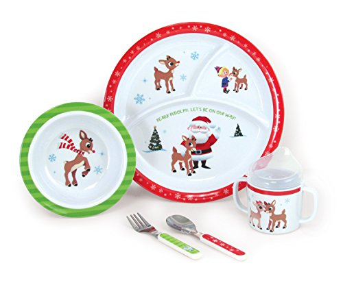 Rudolph 5-Piece Melamine Dish Set - Includes Plate, Bowl, Cup, Fork, and Spoon