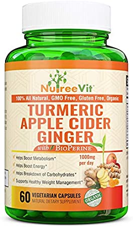 Nutreevit 100% Organic Turmeric Apple Cider Vinegar Supplement with Ginger and Bioperine. Natural Detox and Cleanse. Joint Support, Boost Metabolism, Made in USA (60 Count)