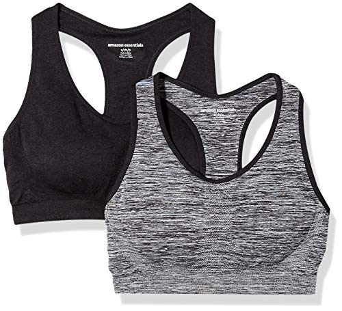 Amazon Essentials Women's 2-Pack Light Support Seamless Sports Bras, Space dye/Black