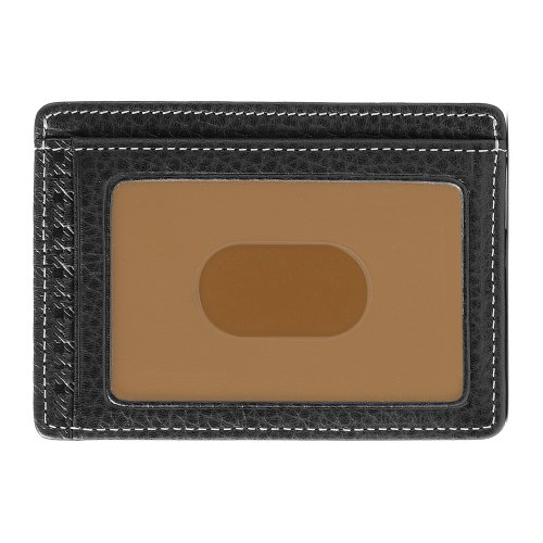 Black Milano Leather Handbags - Boconi Tyler Tumbled Weekender ID Card Case (Black w/terra cotta)