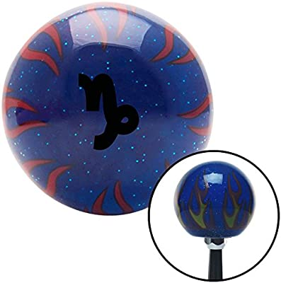 American Shifter 297985 Shift Knob Black Capricorn Blue Flame Metal Flake with M16 x 1.5 Insert