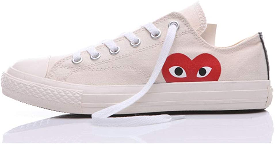 Adult's Replica Canvas Shoes Joint Name CDG Play Heart Low-Top Sneaker for  Men/Women