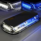 Xprite White & Blue 44 LED 17 Inch High Intensity Law Enforcement Emergency Hazard Warning Flashing Car Truck Construction LED Roof Top Mini Bar Strobe Light with Magnetic Base (White&Blue)
