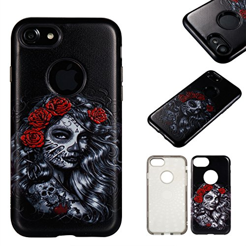 Custodia iPhone 7 Plus / 8 Plus , LH Rose Ragazza TPU Silicone Cristallo Morbido Case Cover Custodie per Apple iPhone 7 Plus / 8 Plus 5.5
