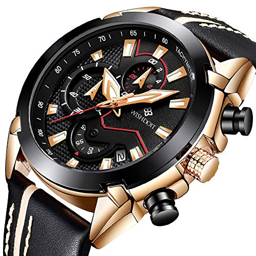 Men's Watches Fashion Analog Quartz Watch Date Business Chronograph Dress Luxury Brand Black Leather Wristwatch Gents Sport Waterproof Wristwatch
