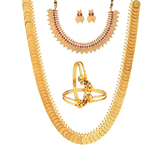 Zeneme Gold-Plated Chain Necklace with Earrings, Bangle Set
