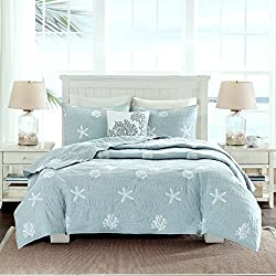 Home Style Coastal Beach House Starfish Seashell 100% Cotton King/California Cal King Quilt + 2 Shams + Decorative Pillow and Sleep Mask Ocean Theme Quilts Sets