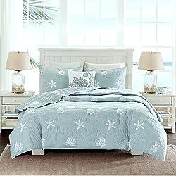 Home Style Coastal Beach House Starfish Seashell 100% Cotton King/California Cal King Quilt + 2 Shams + Decorative Pillow and Sleep Mask Ocean Theme Quilts Sets