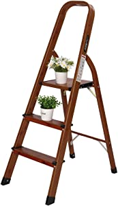 LUISLADDERS 3 Step Ladder Woodgrain Aluminum Lightweight Ladders Folding Step Stool for Home and Kitchen Ladder 330lb