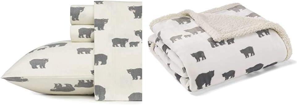 Eddie Bauer Home   100% Cotton Flannel Sheet Set, King, Bear Family + Ultra Plush Reversible Sherpa Fleece Throw, Bear Village + Bear Decorative Pillow, Grey