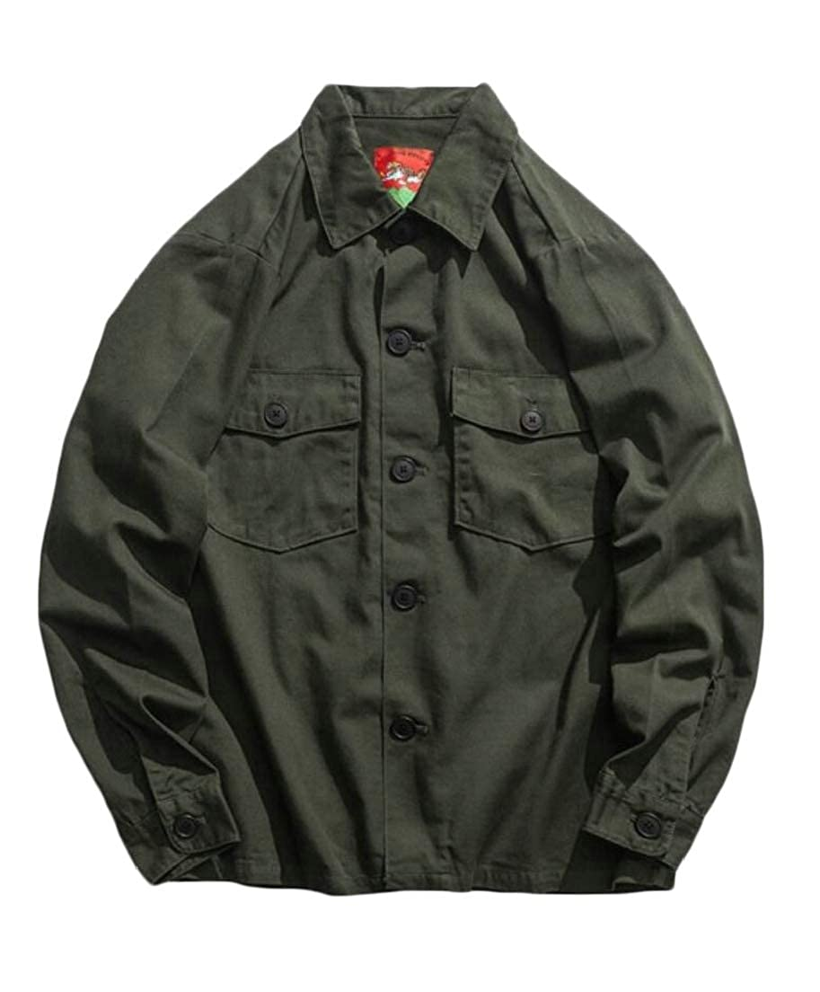 UNINUKOO Unko Mens Military Dress Shirt Long Sleeve Distressed Button Down Shirts