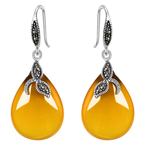 EVER FAITH 925 Sterling Silver Natural Yellow Chalcedony Crystal Retro Black Leaf Teardrop Hook ()