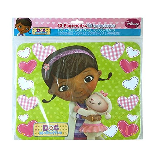 Disney Jr. Doc McStuffins Party Themed Decor - 12ct Disposable Place Mat Table Settings FeaturingDoc & Friends! Perfect Addition to your Disney Party!