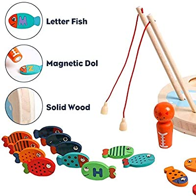 JCRENWooden Magnetic Letters Fishing Game for Kids ABC Alphabet Color Sorting Puzzle Montessori Cognition Preschool Birthday Gift for 2 3 4 Years Old Toddler Early Learning Educational with 2 Pole: Toys & Games