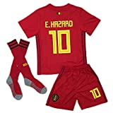 BelgiumJS #10 Hazard 2018 Russia World Cup Belgium Home Soccer Jersey Youth/Kids Jersey & Shorts & Socks Red 7-8Y/Size 22