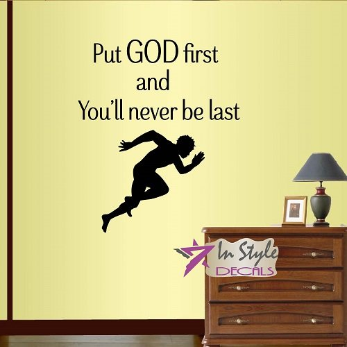 Sportsman Race (Wall Vinyl Decal Home Decor Art Sticker Put God First and You Never Be Last Phrase Quote Sprinter Starting Race Athletics Sportsman Running Man Removable Mural Design For Any Room 220)