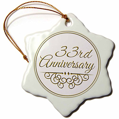 3dRose orn_154475_1 33rd Anniversary Gift Gold Text for Celebrating Wedding Anniversaries 33 Years Married Porcelain Snowflake Ornament, 3-Inch