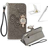 Strap Leather Case for Huawei P20 Lite,Diamond Gray Wallet Flip Case for Huawei P20 Lite,Herzzer Stylish 3D Owl Magnetic Closure Cute Owl Printed Stand Shockproof Card Slots Folio PU Leather Back Case with Soft Silicone