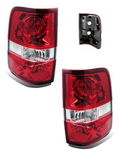 SPPC Red/Clear Euro Tail Lights Assembly Set for Ford F-150 - (Pair) Driver Left and Passenger Right Side (Tail Housing Set)