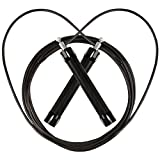 AIWEAM Jump Rope, Steel Wire Jump Ropes with Al Alloy Non-Slip Handle and Wearable Tube,Adjustable Rope Jumping Makes It Perfect for Skipping Workout, MMA, Boxing, Fitness(Black)