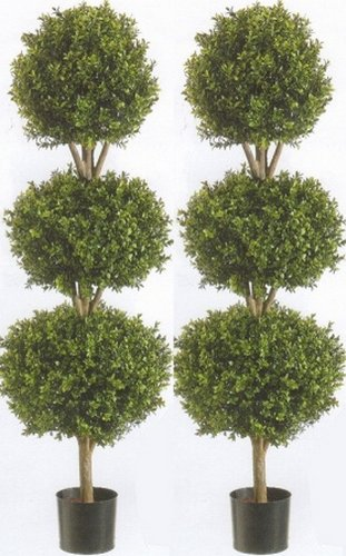 - Silk Tree Warehouse Two 66 Inch Artificial Boxwood Triple Ball Topiary Trees Potted