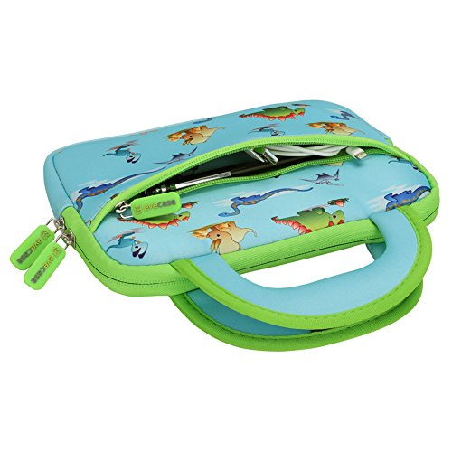 Evecase 7-8 inch Kid Tablet Sleeve, Cute Dinosaurs Themed Neoprene Carrying Sleeve Case Bag For 7-8 inch Kid Tablets (Blue & Green Trim, With Dual Handle and Accessory Pocket)