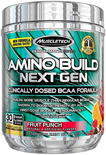 MuscleTech Amino Build Next Gen Energy Supplement, Formulated with BCAA Amino Acids, Betaine, Vitamin B12 B6 for Muscle Strength Endurance, Fruit Punch Splash, 30 Servings 284g