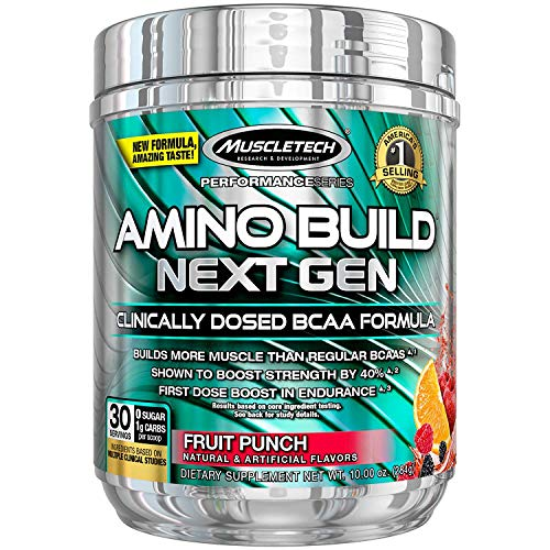 MuscleTech Amino Build Next Gen Energy Supplement, Formulated with BCAA Amino Acids, Betaine, Vitamin B12 & B6 for Muscle Strength & Endurance, Fruit Punch Splash, 30 Servings ()