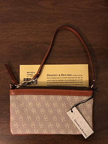 - Dooney & Bourke Florentine Leather Signature Jacquard Large Slim Wristlet (lavender)