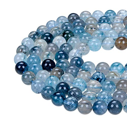 Bead Jewelry Making Natural Blue Rutilated Quartz Smooth Round Loose Beads 15.5''Long Size 12mm ()