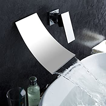This Item KES Wall Mount Bathroom Faucet Waterfall Lavatory Sink Faucet  Single Handle 1/2 Inch IPS BRASS Body And Stainless Steel Extra Wide  Fallingwater ... Part 33
