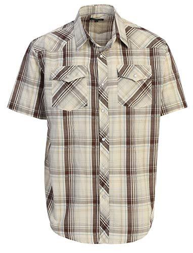 Gioberti Men's Plaid Western Shirt, Khaki/Brown/Gray, Medium