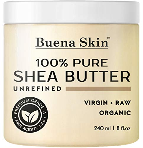Buena Skin Pure Shea Butter - Raw African Organic Grade A Ivory Unrefined, Cold-Pressed - Great to Use Alone or DIY Body Butters, Lotions, Soaps, Eczema & Stretch Mark Products, from Ghana 8 oz ()