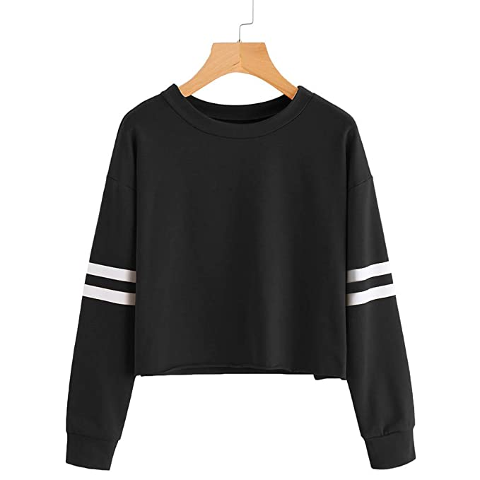 Simayixx Blouse for Women Womens Loose Striped Long Sleeve Fashion Crew Neck Pullover Crop Top Sweatshirt at Amazon Womens Clothing store:
