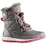SOREL Girls' Youth Whitney Short Lace Snow Boot, Quarry, Ultra Pink, 3 M US Big Kid