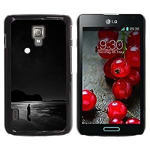 iKiki Tech / Estuche rígido - Black Moon Dark Ocean Alone Man - LG Optimus L7 II P710 / L7X P714