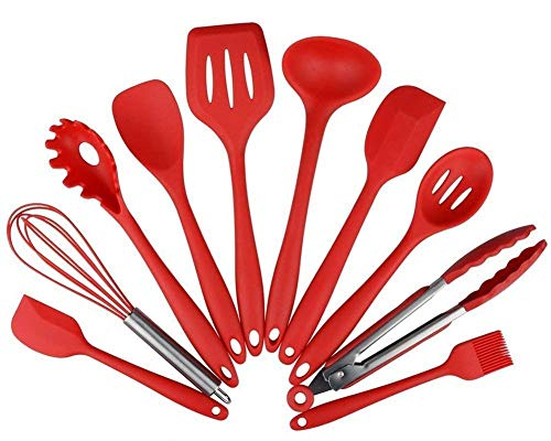 Ramkuwar Silicone Kitchen Utensil Set, 10 PCS Nonstick/Heat Resistant Cooking Utensils - Tongs, Whisk, Spoons, Spatulas, Ladle, Flexible Turner, Pasta Server, Brush - Dishwasher Safe (Red) (B07HXY2VS2) Amazon Price History, Amazon Price Tracker